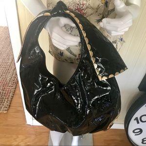 GIANNI BINI Oversized Croco Embossed Shoulder Bag